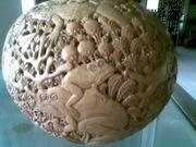 Art Gallery of MrM Wayan Wetja's(Bali)coconut shell special motif frog