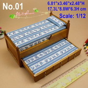 1/12 Scale Dollhouse Miniatures Furniture Wood Trundle Bed