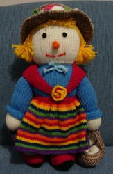 Knitted Soft Toy Handmade Doll Sally Scarecrow Family - Christmas Gift