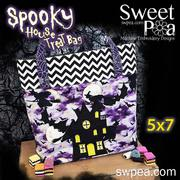 Spooky House Trick or Treat Tote Bag - Machine Embroidery Design